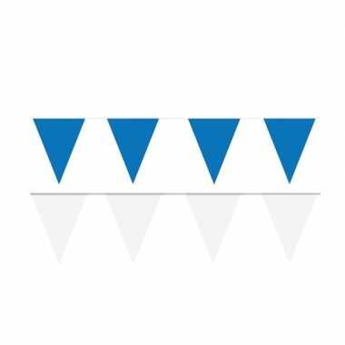 Witte/blauwe feest punt vlaggetjes pakket 200 meter