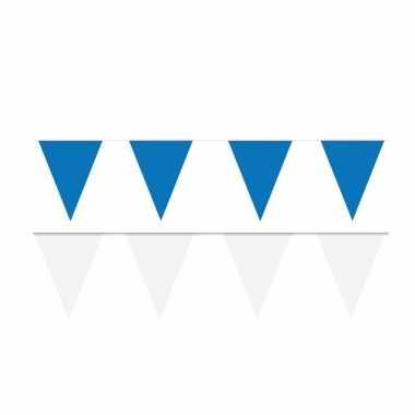 Witte/blauwe feest punt vlaggetjes pakket 60 meter
