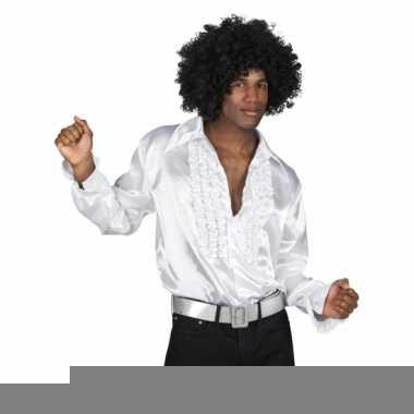 Witte disco overhemden met rouches
