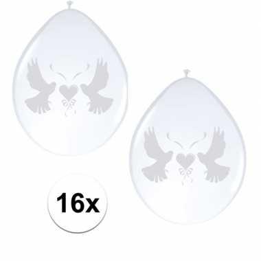 Witte duiven bruiloft ballonnen 16x