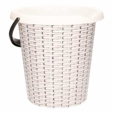Witte emmer met rotan print 12 liter