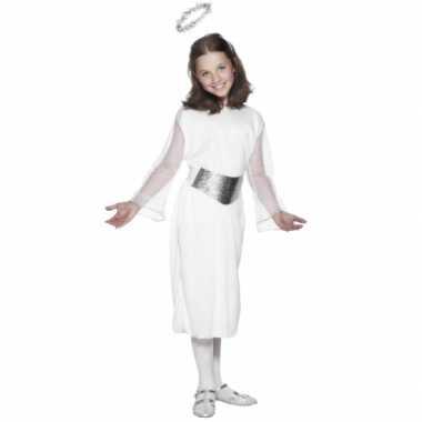 Witte engelen jurk met riem en aureool voor meiden