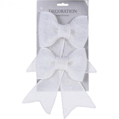 Witte glitter strikken 2 stuks 18 cm