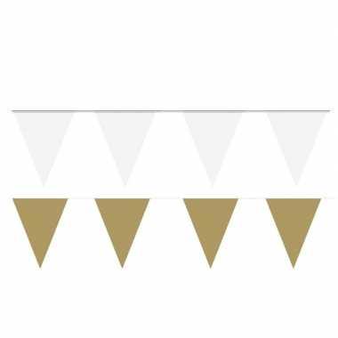 Witte/gouden feest punt vlaggetjes pakket 120 meter
