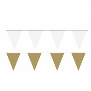 Witte/gouden feest punt vlaggetjes pakket 200 meter