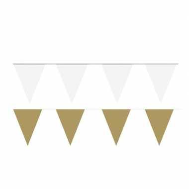 Witte/gouden feest punt vlaggetjes pakket 80 meter