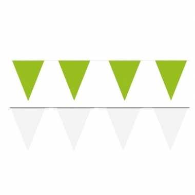 Witte/groene feest punt vlaggetjes pakket 60 meter