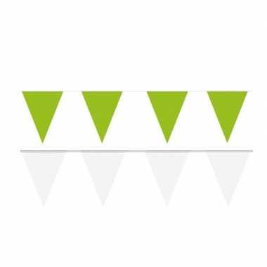 Witte/groene feest punt vlaggetjes pakket 80 meter