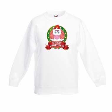 Witte kerst sweater kinderen met een eenhoorn