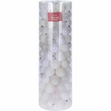 Witte kerstversiering kerstballenset kunststof 6 cm