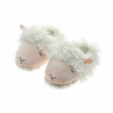 Witte lammetjes pantoffels voor dames