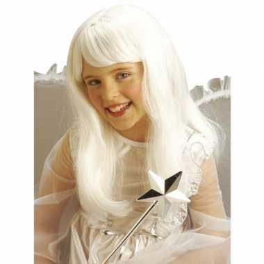 Witte lange prinsessen pruik kids