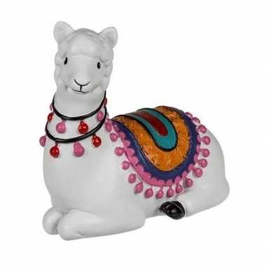 Witte liggende alpaca / lama spaarpot 9 cm