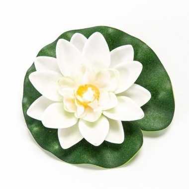 Witte lotus/waterlelie kunstbloem 10 cm