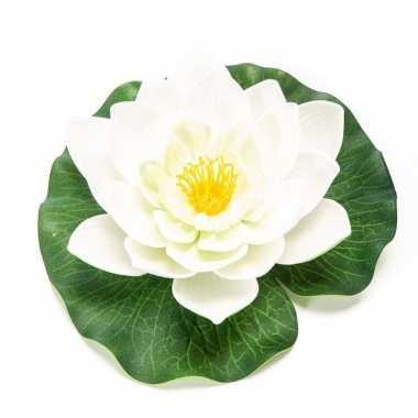 Witte lotus/waterlelie kunstbloem 16 cm