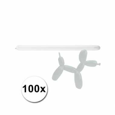Witte modelleerballonnetjes 100 stuks