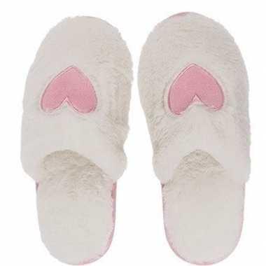 Witte pantoffel dames slippers met hartjes