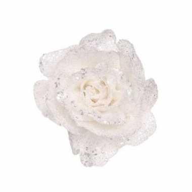 Witte roos met glitters op clip 10 cm - kerstversiering
