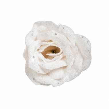 Witte roos met glitters op clip 7 cm - kerstversiering