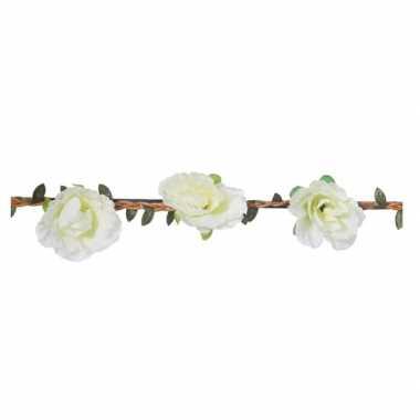 Witte rozen festival/hippie haarband voor dames