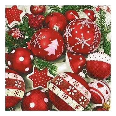 Witte servetten met kerstballen 20 stuks