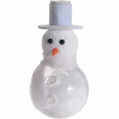 Witte sneeuwpop kerstversiering hangdecoratie 12 cm met knopen
