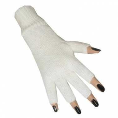 Witte vingerloze handschoen