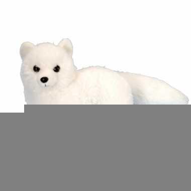 Witte vosen knuffel met kraalogen 20 cm