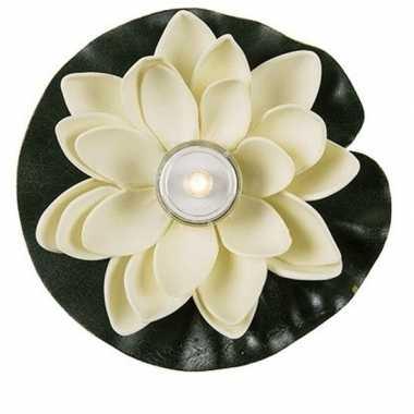 Witte waterlelie met led-licht 13 cm