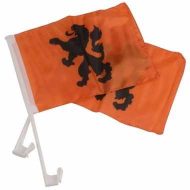 Wk autovlaggen oranje met knvb leeuw 20 x 30 cm
