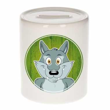 Wolf kado spaarpot voor kinderen 9 cm
