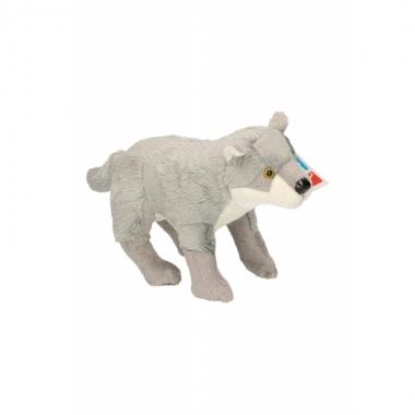 Wolf knuffel met kraalogen 25 cm