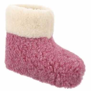 Wollen pantoffels roze voor dames