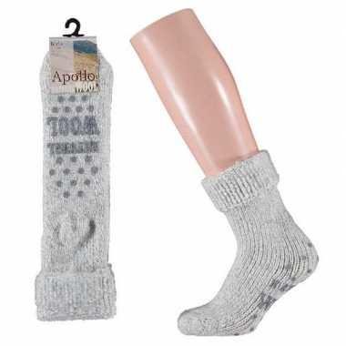 Wollen sokken in grijs voor meisjes maat 27/30