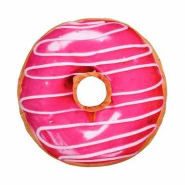 Woonaccessoire roze donut kussen 40 cm