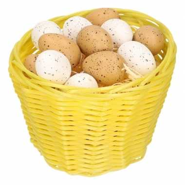 Yellow easter basket with plastic quail eggs 14cm