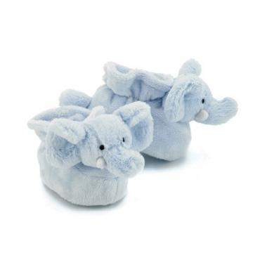 Zachte blauwe babysloffen olifant