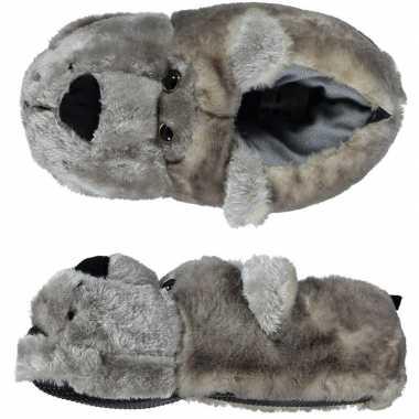 Zachte dieren sloffen/pantoffels grijze beer voor dames