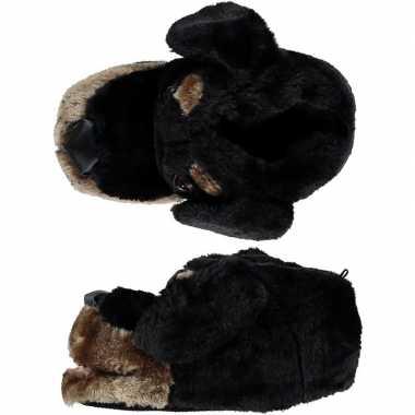 Zachte dieren sloffen/pantoffels zwarte hond voor dames