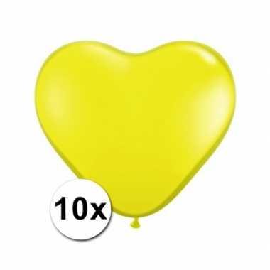 Zak met 10 gele hart ballonnen 15 cm