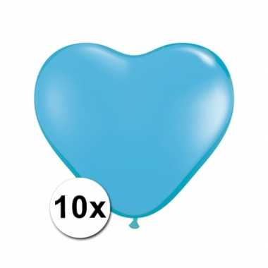 Zak met 10 lichtblauwe hart ballonnen 15 cm