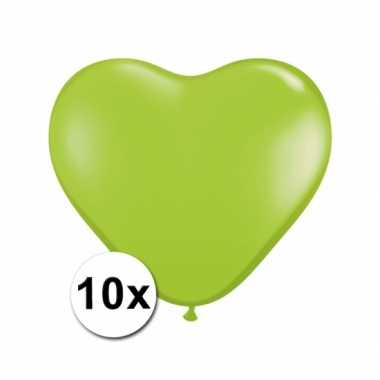 Zak met 10 lime hart ballonnen 15 cm