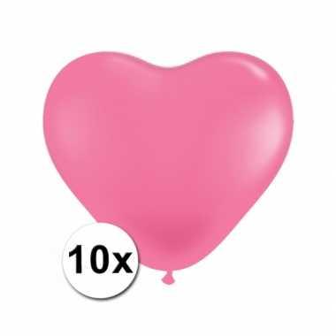 Zak met 10 roze hart ballonnen 15 cm