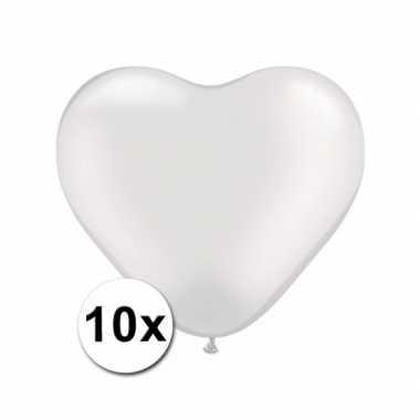 Zak met 10 witte hart ballonnen 15 cm