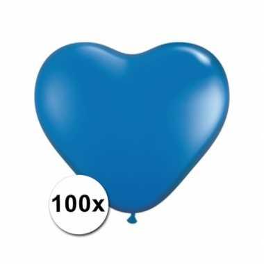 Zak met 100 blauwe hart ballonnen 15 cm