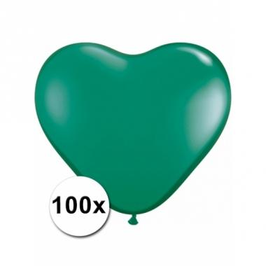 Zak met 100 groene hart ballonnen 15 cm