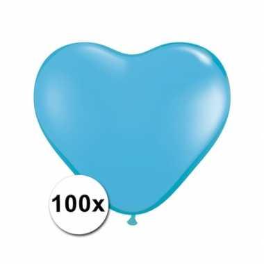 Zak met 100 lichtblauwe hart ballonnen 15 cm