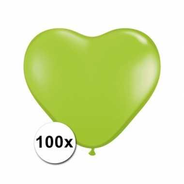 Zak met 100 limegroene hart ballonnen 15 cm