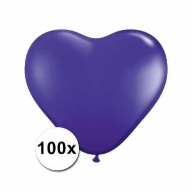Zak met 100 paarse hart ballonnen 15 cm