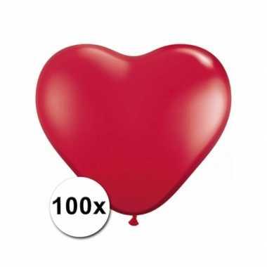 Zak met 100 rode hart ballonnen 15 cm
